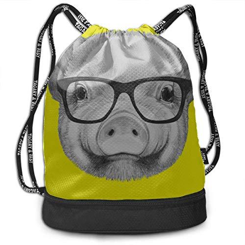 OKIJH Mochila Mochila de ocio Mochila con cordón Mochila multifuncional Bolsa de gimnasio Sports Gym Bag Cartoon Pink Pig Wear Glasses Gym Drawstring Bags Backpack Sports String Bundle Backpack For Sp