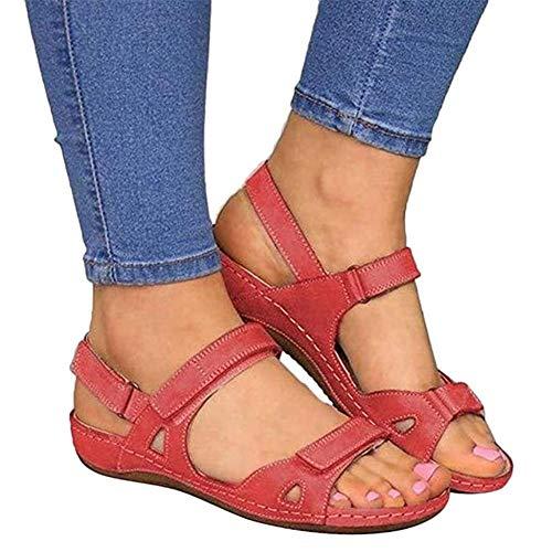 Renoble Mujer Sandalias Deportivas De Cuero, de Piel sintética, Sandalias de Costura al Aire Libre Antideslizantes Zapatillas de Confort