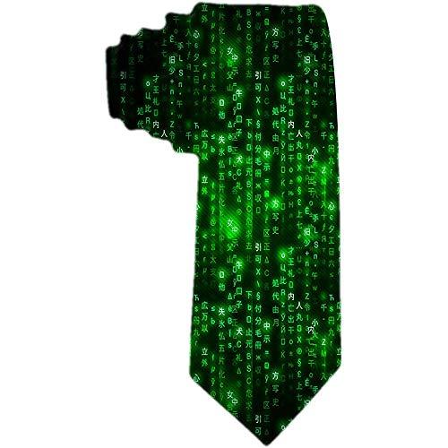 Der Klassiker der Männer gesponnene Geschäfts-Krawatten-Krawatten-Grün-Matrix-Symbol-Digital-binärer Code auf dunklen Krawatten