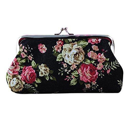 Amlaiworld Frauen Retro Flower kleine Brieftasche Hasp Handtasche Clutch Bag für 5,5 Zoll Telefon (Schwarz)