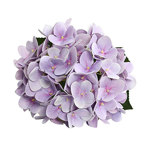 Eamoney 1Pc 3D Artificial Flowers Flocked Fake Plants, Cloth Flower Hydrangea Bridal Wedding Party Desktopfor Home Wedding Christmas Party Office Indoor Table- Light Purple