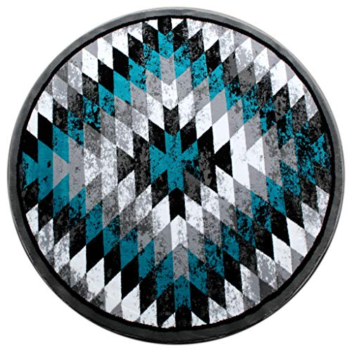 Masada Rugs, Stephanie Collection Area Rug Southwest Native American Distressed Design 1106 Turquoise Grey White Black (7 Feet 3 Inch X 7 Feet 3 Inch) Round.