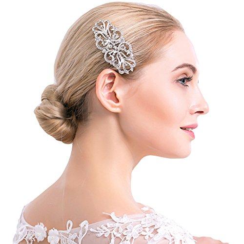 Élégant symétrique Peigne à cheveux mariage Strass Cheveux Clip mariée Headwear