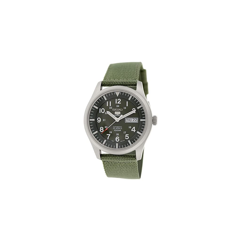 Fashion Shopping Seiko 5 Men's SNZG09K1 Sport Analog Automatic Khaki Green Canvas Watch