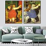 DHLHL The Dancers di Fernando Botero Quadri Famosi Dipinti su Tela a Parete Quadri artistici Poster e Stampe per Soggiorno Decorazione 50x70cmx2 Senza Cornice