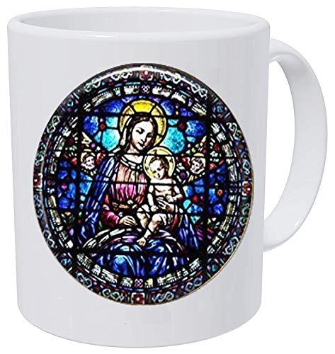 Jungfrau Maria und Kind Buntglas • christlicher Schmuck • christliches Geschenk • Marien-Halskette • christliche Halskette • Jesus-Kaffeetasse