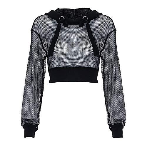 KEERADS Women Sweatshirt Camiseta de Manga Larga Rejilla Perspectiva Blusa Casual Tops Sueltos Sudaderas para Mujer