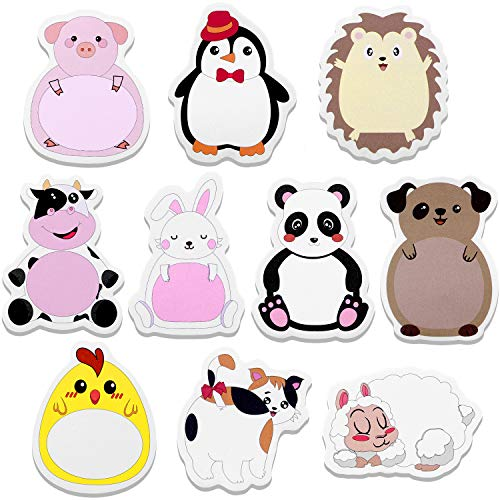 30 Sets Cartoon Animal Sticky Notes Cute Cartoon Memo Page Markers Flags in Different Shapes for Home, School and Office, 10 Styles