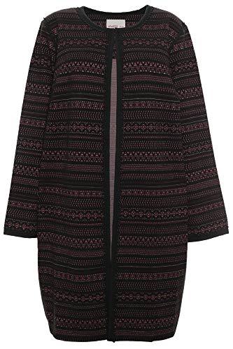 Sheego Jacquard Mantel Kurzmantel Gehrock Blazer Umhang Damen Plusgröße, Farbe:schwarz, Damengrößen:52