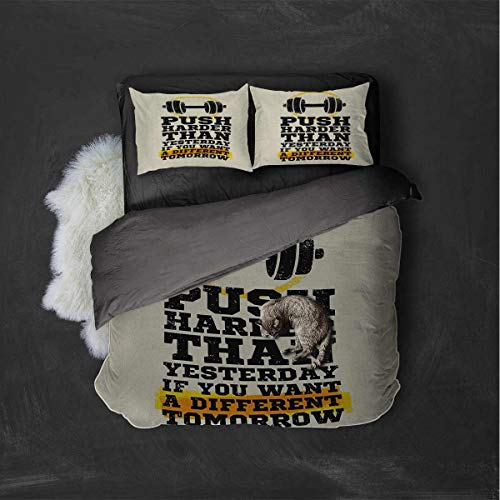 Luoiaax Fitness Hotel Luxury Bed Linen Push Harder Sports Phrase Positive Message Grungy Display with Dumbbell Polyester - Soft and Breathable (King) Cream Black Yellow