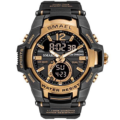 Smael Hombres Relojes Analógico De Doble Pantalla De Cuarzo Reloj Deportivo A Prueba De Agua 50M Reloj De Pulsera Militar Reloj Digital Militar Ejército Relojes (Oro Rosa)