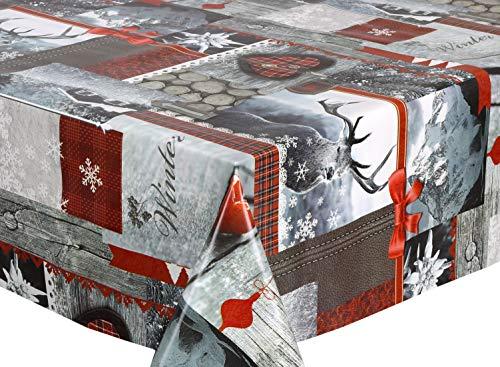 BEAUTEX Wachstuchtischdecke abwischbar Tischdecke RUND ECKIG, Weihnachten Motiv und Größe wählbar (Eckig 140x100 cm Winter Hirsch)