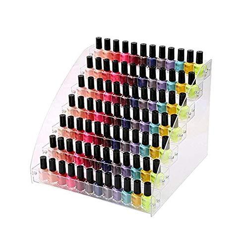 Soporte de exhibición de esmalte de uñas, soporte de acrílico para esmalte de uñas, organizador de botellas de aceite, organizador de maquillaje para botellas de 7 pisos Berrywho Home