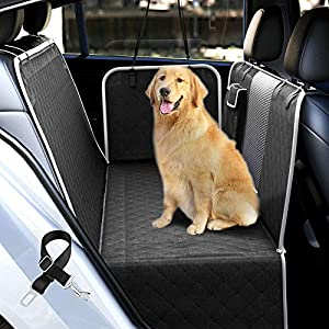 Dog Car Seat Covers with Mesh Visual Window for Back Seat, UPODA Waterproof Nonslip Pet Seat Cover Scratchproof Hammock with Dog Seat Belts & Storage Pockets for Trucks SUVs