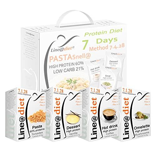 """DIETA PROTEICA con la PASTA ! Alimenti Proteici in BAG COMPLETO per 7 Giorni: Opzione B = 21 preparati PROTEICI (buste proteiche) senza Carboidrati e senza Zuccheri + 7 confezioni da 50 grammi di PASTA PROTEICA al 60% di Proteine, una dieta per """"PERDERE PESO"""" senza sentire la FAME! Una settimana completa di colazione, spuntino, pranzo e cena ... brucia grassi e TORNI SUBITO in FORMA!"""