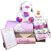 MabyBox Teddy Bear   Canastilla Bebé   Regalo Bebé Personalizado   Canastilla Regalo Recién nacido   Regalo Babyshower   Cesta Bebé Personalizada (Rosa)