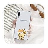 Joli téléphone transparent en forme de chien corgi pour Samsung S9 S10 S20 Huawei Honor P20 P30...