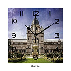 FashSam Print Square Wall Clock, 8 Inch Royal Exhibition Building Behind Carlton Gardens in Melbourne, Victoria, Australia Quiet Desk Clock for Home,Office,School No-41214