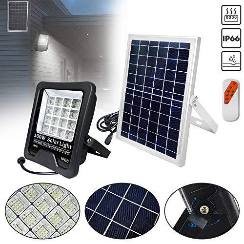 HENGMEI 100W LED Flutlicht Wasserdicht IP66 LED Strahler Solar LED Scheiwerfer Superhell für Sportplatz Garage Garten Hinterhof Außen [Energieklasse A+] - Kaltweiß