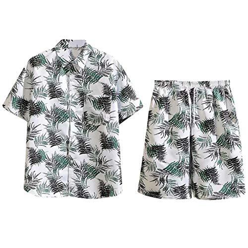 Herren Freizeitanzug Sommer Mode Blätter Druckanzug Ferien-Set Kurzarm Shirt Shorts Set mit Tasche Große Größen Hawaii Outfit, Weiß, XX-Large