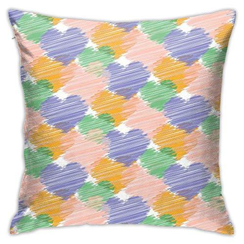 MZZhuBao Fundas de cojín para sofá, decoración del hogar, 45,7 x 45,7 cm, diseño de corazón, color naranja, azul, morado, verde