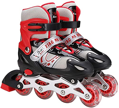 DLXYch Adjustable Inline SkatesRoller Skates With Illuminating Light Up WheelsABEC 7 Bearing Roller Blades For KidAdultsMen Women And TeensSizeS 303437 YearsColorRed