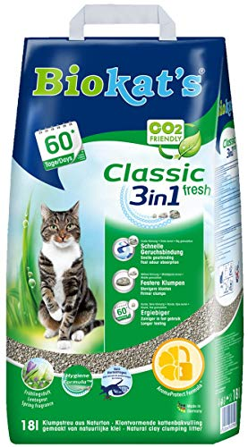 Biokat's Classic Fresh 3in1 with Fragrance - Clumping cat litter with 3 different grain sizes - 1 bag (1 x 18 L)