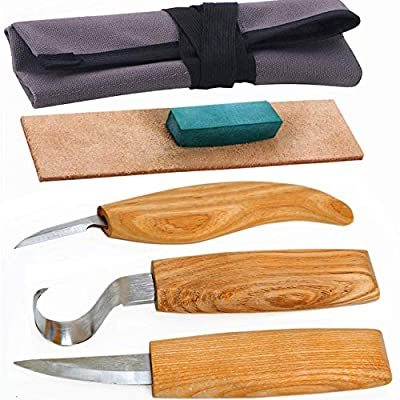 Wood Carving Tools Set for Spoon Carving 3 Knives in Tools Roll Leather Strop and Polishing Compound Hook Sloyd Detail Knife (5pcs)