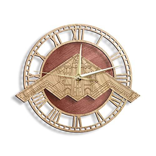 hufeng Reloj de Pared B-2 Spirit Stealth Bomber Fighter Attack Warplane Reloj de Pared de Madera Air Force Decoración para el hogar Aviación Reloj Colgante Reloj de Madera