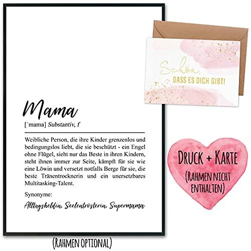 Muttertagsgeschenk mit Kunstdruck & goldfolierter Postkarte inkl. Umschlag sowie 2 weiteren Karten - Geschenk zum Muttertag - Design 2 - Definition - ohne Rahmen