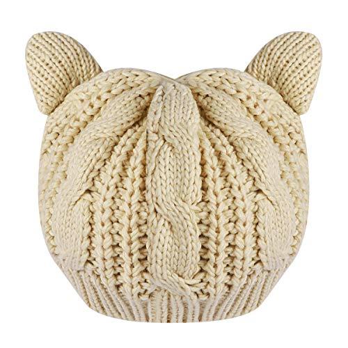 TinkSky Oreilles de chat mignon automne hiver en forme filles de femmes Crochet tressé Ski tricot...
