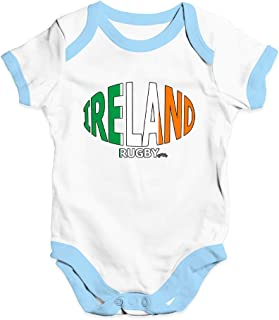 TWISTED ENVY Baby Grow Baby Romper Ireland Rugby Ball Flag