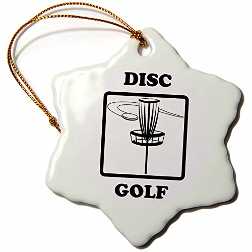 3dRose orn_149827_1 Disc Golf. Golfing. Disc Golfing-Snowflake Ornament, 3-Inch, Porcelain
