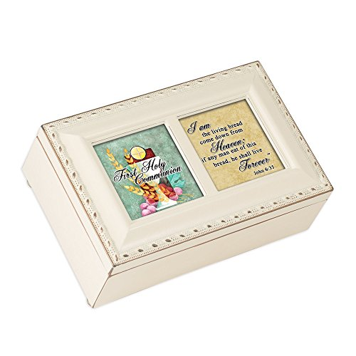 Cottage Garden First Communion Living Bread Matte Ivory Jewelry Music Box Plays Ave Maria