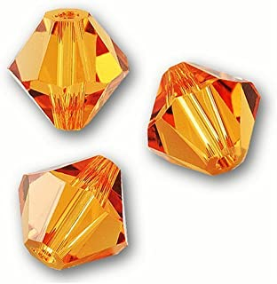 4 mm.Swarovski Crystal Beads Bicone 5301/5328.Topaz. (48 pcs)