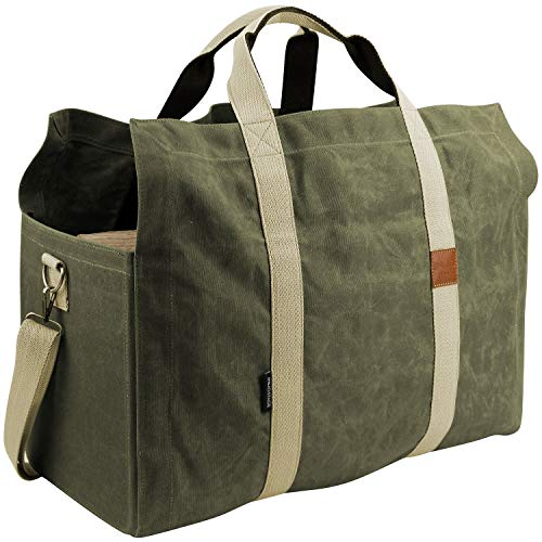 INNO STAGE Free Standing Firewood Log Carrier Tote Bag with Double Cotton Straps  Green