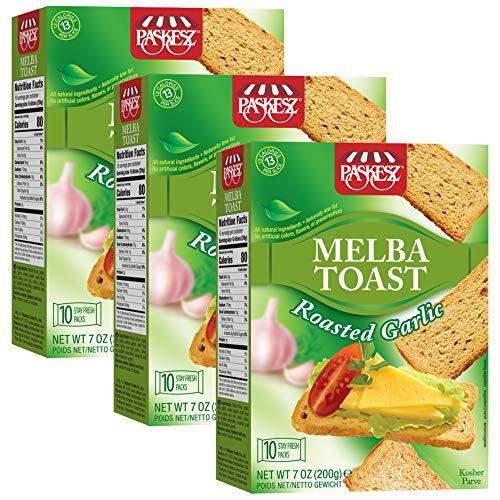 Paskesz Melba Toast, Flatbread Toast Crackers, All Natural Non-GMO, 7 Oz, 3 Pack (Roasted Garlic)