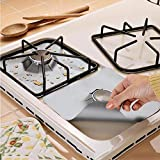 6 pcs/Set Estufa Reutilizable Quemador de Cubiertas de Fibra de Vidrio Protector de Estufa Protectora Estera Herramienta de Cocina Antiadherente, Liner de Limpieza rápida para coci(Plata)