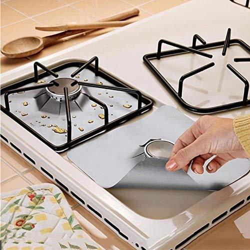 6 pcs/set Estufa reutilizable Quemador de Cubiertas de fibra de vidrio Protector de estufa protectora Estera Herramienta de cocina...