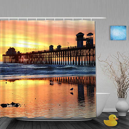 Janrely Polyester Fabric Shower Curtain,Oceanside Pier Reflections,with 12 Plastic Hooks Decorative Waterproof Bath Curtains 72x72 inches