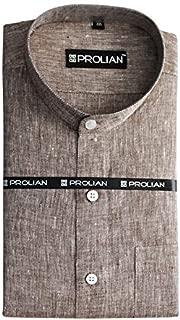 PROLIAN Men's Linen Brown Solid Formal Shirt