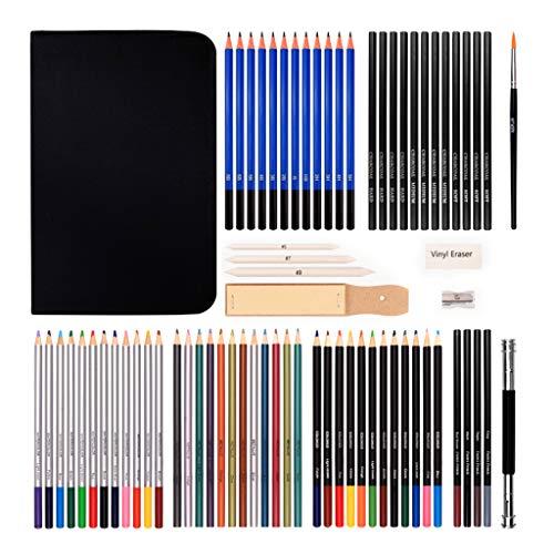 MYBOON - Juego de lápices de Dibujo de 72 Piezas, lápiz de Color carbón, Borrador, sacapuntas, Extensor, lápiz de Dibujo