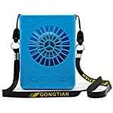 USB Mini Personal Fan with Lanyard 3 Speeds Portable Necklace Fan USB Rechargeable Handheld Cooling Fans Powered by 18650 Li Battery,for Office Outdoor Travel Watch The Games(Blue)