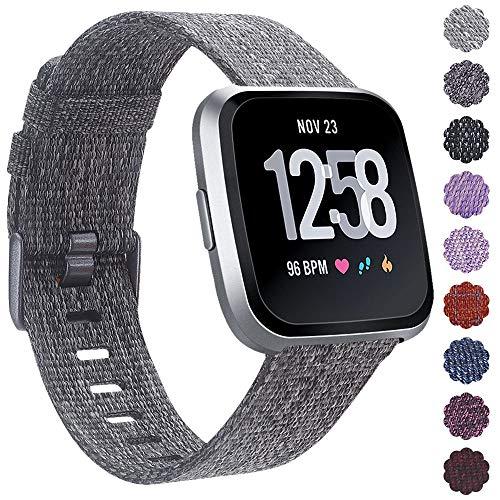 KIMILARArmbänder Kompatibel mit Fitbit Versa/Versa 2/Versa Lite Armband Stoff, Schnellspanner Nylon Ersatzband Armbänder mit Edelstahl Handgelenk Verschluss für Versa Smartwatch (Grau)
