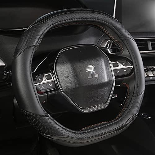Cubierta Volante Para PEUGEOT 3008 4008 5008 CUBIERTA DE RUEDA DE VIAJE DE CABONO FIBER DE CARBONO + ACCESORIOS DE CUERO DE PU AUTO INTERIOR (Color Name : Black)