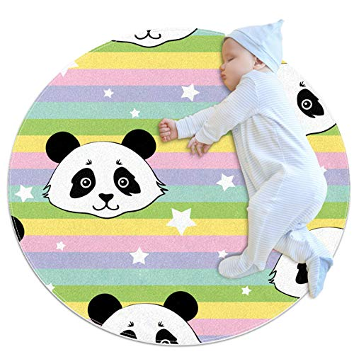 HDFGD Alfombra redonda para niños, antideslizante, alfombra redonda, alfombra lavable, diseño de rayas de arcoíris