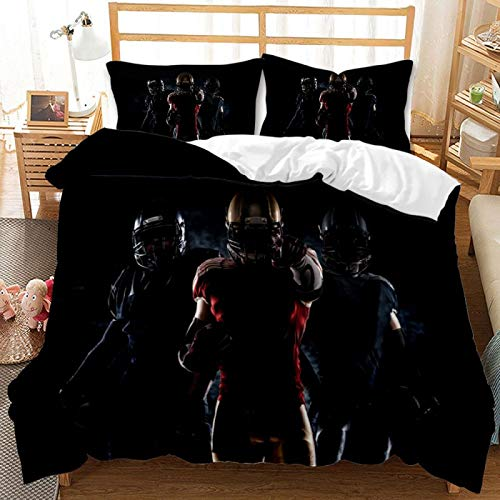 3-Piece Polyester Super-Large Realistic 3D Rugby Duvet Cover, Single And Double Bed Home Textile For Boys' Bedroom, Machine Washable Soft And Lightweight Bedding