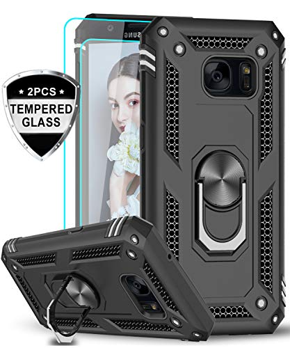 LeYi Samsung Galaxy S7 Case with Tempered Glass Screen Protector [2 Pack], [Military Grade] Defender Protective Phone Cover Case with Magnetic Car...