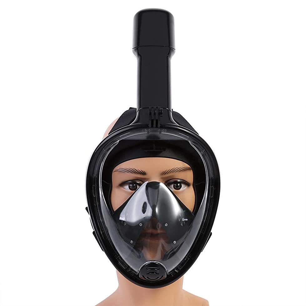 バイオレット小数不足フルフェイスシュノーケルマスク、最新バージョンのスノーケルマスク折りたたみ式180パノラマビュー無料着脱式カメラマウント付きフルフェイスシュノーケリングマスク、ドライトップセットアンチフォグアンチリーク大人用/子供用