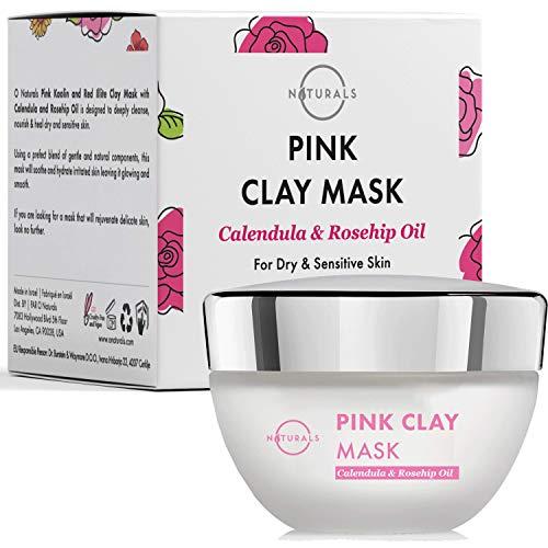 O Naturals Mascarilla Facial Arcilla Rosa y Aceite Mosqueta,cara y cuello.Combate Brotes de Acné y las cicatriza. Limpia los poros,Manchas,Hidrata,Nutre y Tonifica la Cara. Aumenta el colágeno 50gr.